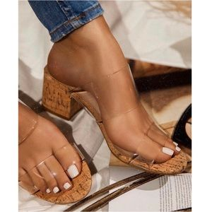 Shoes - Clear Double Band Cork Block Heel Sandal